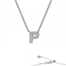0.37 CTTW Platinum Simulated Diamond Initials By Rhonda Faber Green Block Initials