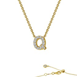 0.43 CTTW Gold Simulated Diamond Initials By Rhonda Faber Green Necklaces