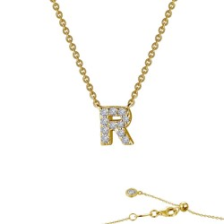 0.39 CTTW Gold Simulated Diamond Initials By Rhonda Faber Green Necklaces