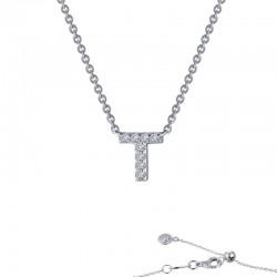 0.35 CTTW Platinum Simulated Diamond Initials By Rhonda Faber Green Block Initials