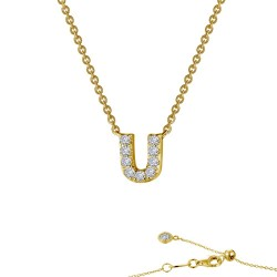 0.38 CTTW Gold Simulated Diamond Initials By Rhonda Faber Green Necklaces