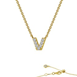 0.35 CTTW Gold Simulated Diamond Initials By Rhonda Faber Green Necklaces