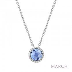 0.2 Cttw Platinum Aquamarine Birthstone NecklacesBirthstone
