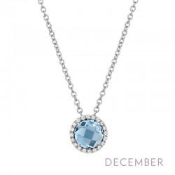 0.2 Cttw Platinum Blue Topaz Birthstone NecklacesBirthstone