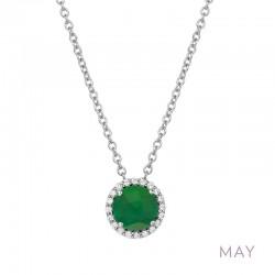 0.2 Cttw Platinum Emerald Birthstone NecklacesBirthstone