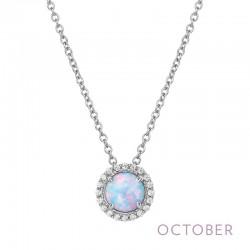 0.2 Cttw Platinum Opal Birthstone NecklacesBirthstone