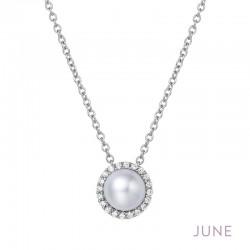 0.2 Cttw Platinum Pearl Birthstone NecklacesBirthstone
