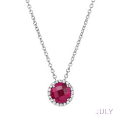 0.2 Cttw Platinum Ruby Birthstone NecklacesBirthstone