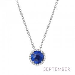 0.2 Cttw Platinum Sapphire Birthstone NecklacesBirthstone