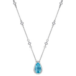 Appx Cttw: 3.29 Cts. Blue Topaz: Appx 2.98 Cts. Lassaire Simulated Diamonds: 0.31 Cts. Cttw Platinum Blue Topaz Aria NecklacesAria