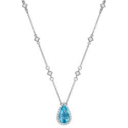 Appx Cttw: 3.29 Cts. Blue Topaz: Appx 2.98 Cts. Lassaire Simulated Diamonds: 0.31 Cts. Cttw Platinum Blue Topaz Aria NecklacesAria