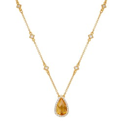 Appx Cttw: 3.29 Cts. Citrine: Appx 2.98 Cts. Lassaire Simulated Diamonds: 0.31 Cts. Cttw Gold Citrine Aria NecklacesAria