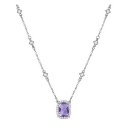 Appx Cttw: 3.55 Cts. Amethyst: Appx 3.21 Cts. Lassaire Simulated Diamonds: 0.34 Cts. Cttw Platinum Amethyst Aria NecklacesAria