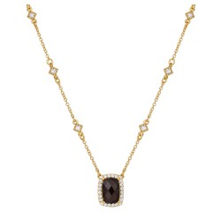 Appx Cttw: 3.55 Cts. Smoky: Appx 3.21 Cts. Lassaire Simulated Diamonds: 0.34 Cts. Cttw Gold Smoky Quartz Aria NecklacesAria