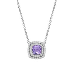 Appx Cttw: 1.23 Cts. Amethyst: Appx 0.71 Cts. Lassaire Simulated Diamonds: 0.52 Cts. Cttw Platinum Amethyst Aria NecklacesAria