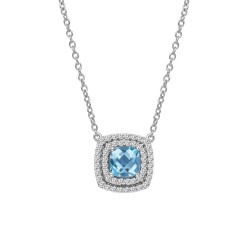 Appx Cttw: 1.23 Cts. Blue Topaz: Appx 0.71 Cts. Lassaire Simulated Diamonds: 0.52 Cts. Cttw Platinum Blue Topaz Aria NecklacesAria