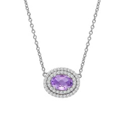 Appx Cttw: 1.26 Cts. Amethyst: Appx 0.76 Cts. Lassaire Simulated Diamonds: 0.50 Cts. Cttw Platinum Amethyst Aria NecklacesAria