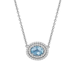Appx Cttw: 1.26 Cts. Blue Topaz: Appx 0.76 Cts. Lassaire Simulated Diamonds: 0.50 Cts. Cttw Platinum Blue Topaz Aria NecklacesAria