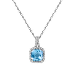 Appx Cttw: 3.61 Cts. Blue Topaz: Appx 3.01 Cts. Lassaire Simulated Diamonds: 0.60 Cts. Cttw Platinum Blue Topaz Aria NecklacesAria