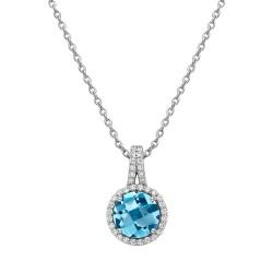 Appx Cttw: 2.60 Cts. Blue Topaz: Appx 2.04 Cts. Lassaire Simulated Diamonds: 0.56 Cts. Cttw Platinum Blue Topaz Aria NecklacesAria