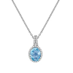 Appx Cttw: 2.44 Cts. Blue Topaz: Appx 1.86 Cts. Lassaire Simulated Diamonds: 0.58 Cts. Cttw Platinum Blue Topaz Aria NecklacesAria