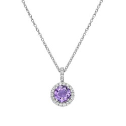 Appx Cttw: 1.06 Cts. Amethyst: Appx 0.84 Cts. Lassaire Simulated Diamonds: 0.22 Cts. Cttw Platinum Amethyst Aria NecklacesAria