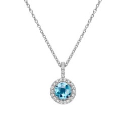 Appx Cttw: 1.06 Cts. Blue Topaz: Appx 0.84 Cts. Lassaire Simulated Diamonds: 0.22 Cts. Cttw Platinum Blue Topaz Aria NecklacesAria