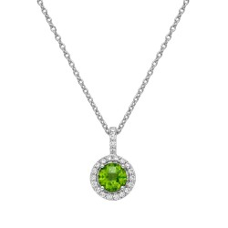 Appx Cttw: 1.06 Cts. Peridot: Appx 0.84 Cts. Lassaire Simulated Diamonds: 0.22 Cts. Cttw Platinum Peridot Aria NecklacesAria