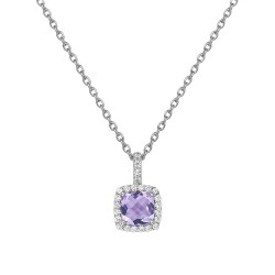 Appx Cttw: 1.48 Cts. Amethyst: Appx 1.24 Cts. Lassaire Simulated Diamonds: 0.24 Cts. Cttw Platinum Amethyst Aria NecklacesAria