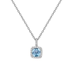 Appx Cttw: 1.48 Cts. Blue Topaz: Appx 1.24 Cts. Lassaire Simulated Diamonds: 0.24 Cts. Cttw Platinum Blue Topaz Aria NecklacesAria