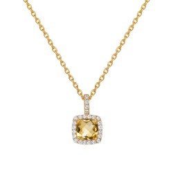 Appx Cttw: 1.48 Cts. Citrine: Appx 1.24 Cts. Lassaire Simulated Diamonds: 0.24 Cts. Cttw Gold Citrine Aria NecklacesAria