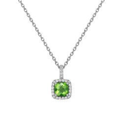 Appx Cttw: 1.48 Cts. Peridot: Appx 1.24 Cts. Lassaire Simulated Diamonds: 0.24 Cts. Cttw Platinum Peridot Aria NecklacesAria