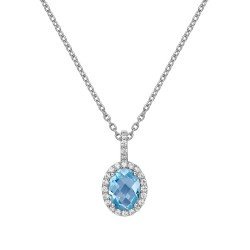 Appx Cttw: 1.45 Cts. Blue Topaz: Appx 1.21 Cts. Lassaire Simulated Diamonds: 0.24 Cts. Cttw Platinum Blue Topaz Aria NecklacesAria