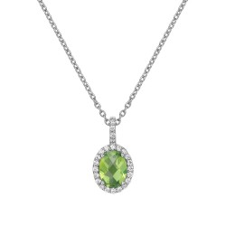 Appx Cttw: 1.45 Cts. Peridot: Appx 1.21 Cts. Lassaire Simulated Diamonds: 0.24 Cts. Cttw Platinum Peridot Aria NecklacesAria