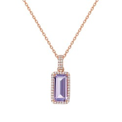 Appx Cttw: 4.25 Cts. Amethyst: Appx 3.79 Cts. Lassaire Simulated Diamonds: 0.46 Cts. Cttw Rose Gold Amethyst Aria NecklacesAria
