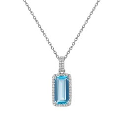 Appx Cttw: 4.25 Cts. Blue Topaz: Appx 3.79 Cts. Lassaire Simulated Diamonds: 0.46 Cts. Cttw Platinum Blue Topaz Aria NecklacesAria