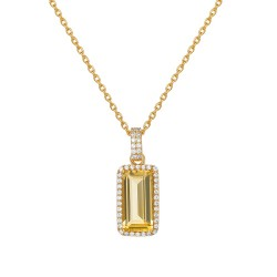 Appx Cttw: 4.25 Cts. Citrine: Appx 3.79 Cts. Lassaire Simulated Diamonds: 0.46 Cts. Cttw Gold Citrine Aria NecklacesAria