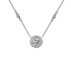 1.61 Cttw Platinum Simulated Diamond Classic Necklaces