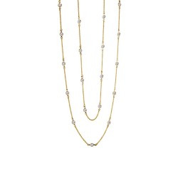 6 Cttw Gold Simulated Diamond Classic Necklaces