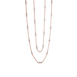 6 Cttw Rose Gold Simulated Diamond Classic Necklaces