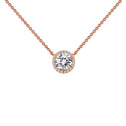 1.23 Cttw Rose Gold Simulated Diamond Classic Necklaces