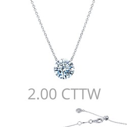 2 CTTW Platinum Simulated Diamond Lassaire In Motion Necklaces