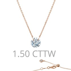 1.5 CTTW Rose Gold Simulated Diamond Lassaire In Motion Necklaces