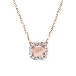2.24 CTTW Rose Gold Morganite Classic Necklaces