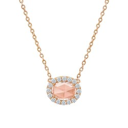 1.45 CTTW Rose Gold Morganite Classic Necklaces
