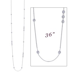 6.48 CTTW Platinum Simulated Diamond Stackables Necklaces