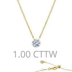 1 CTTW Gold Simulated Diamond Lassaire In Motion Necklaces