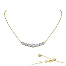 2.02 CTTW Gold Simulated Diamond 7 Symbols Of Joy Necklaces