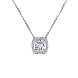 0.76 CTTW Platinum Simulated Diamond Classic Necklaces