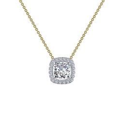 0.76 CTTW 2 Tone Simulated Diamond Classic Necklaces